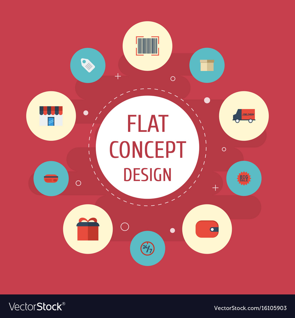 Flat icons case bus present and other vector image