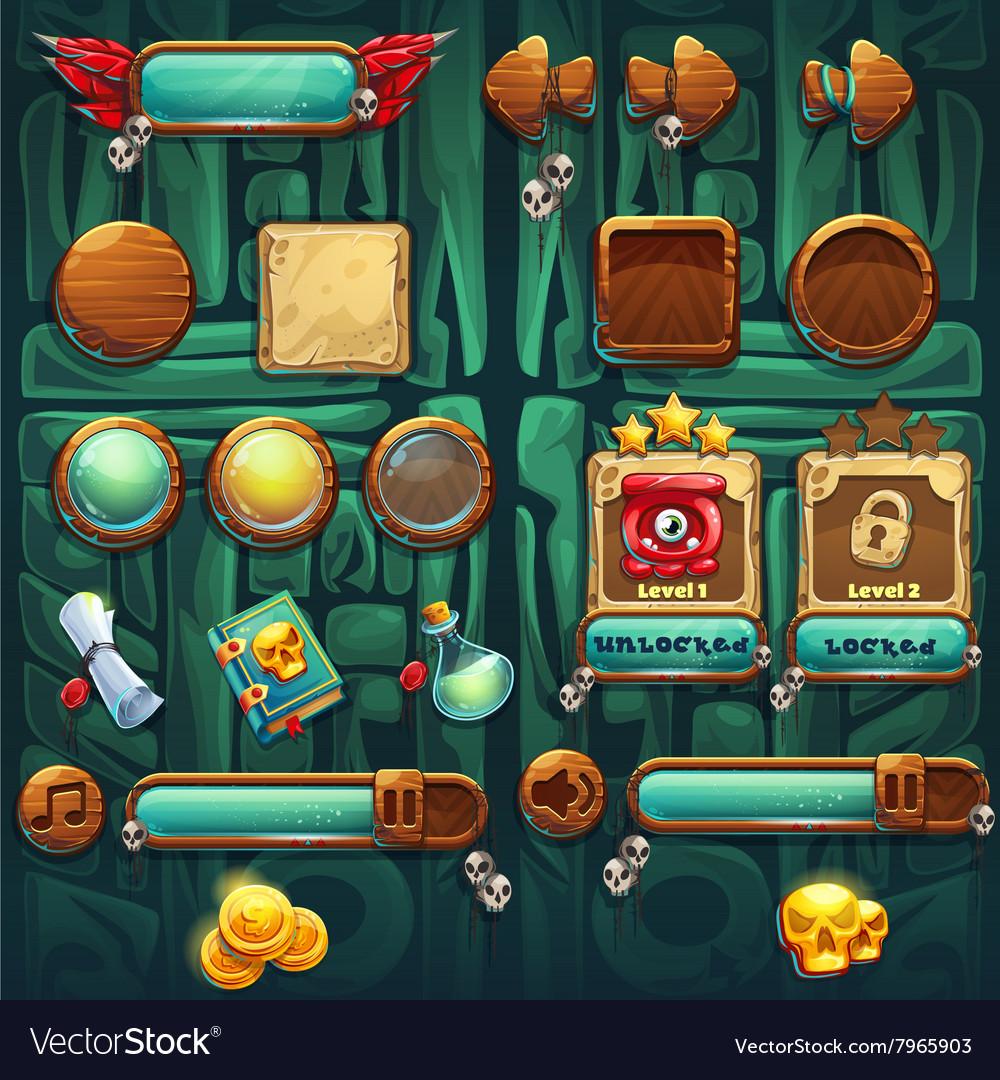 Jungle shamans GUI icons buttons set vector image