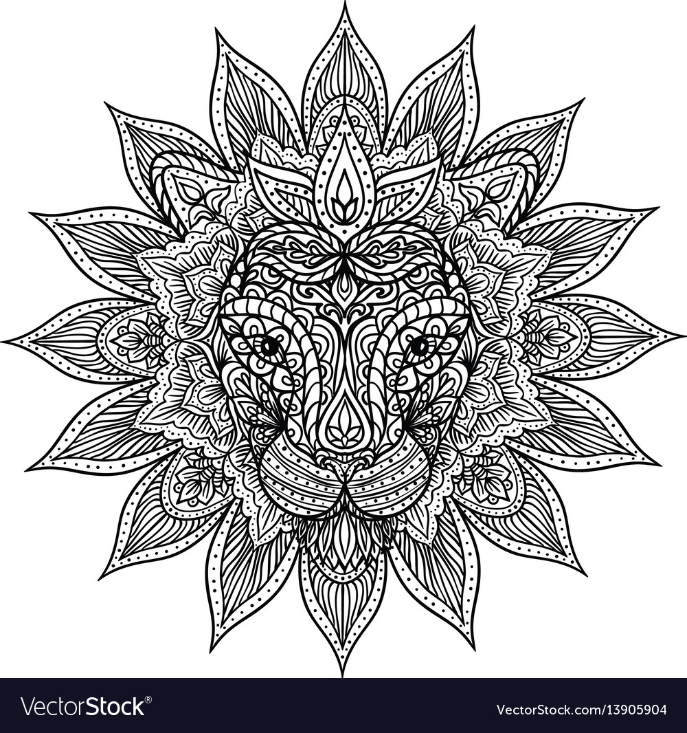 Outline lion mandala Royalty Free Vector Image