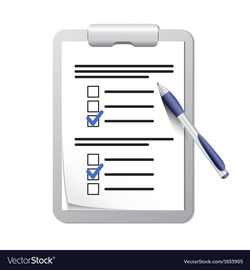 Clipboard with check list and pen vector image