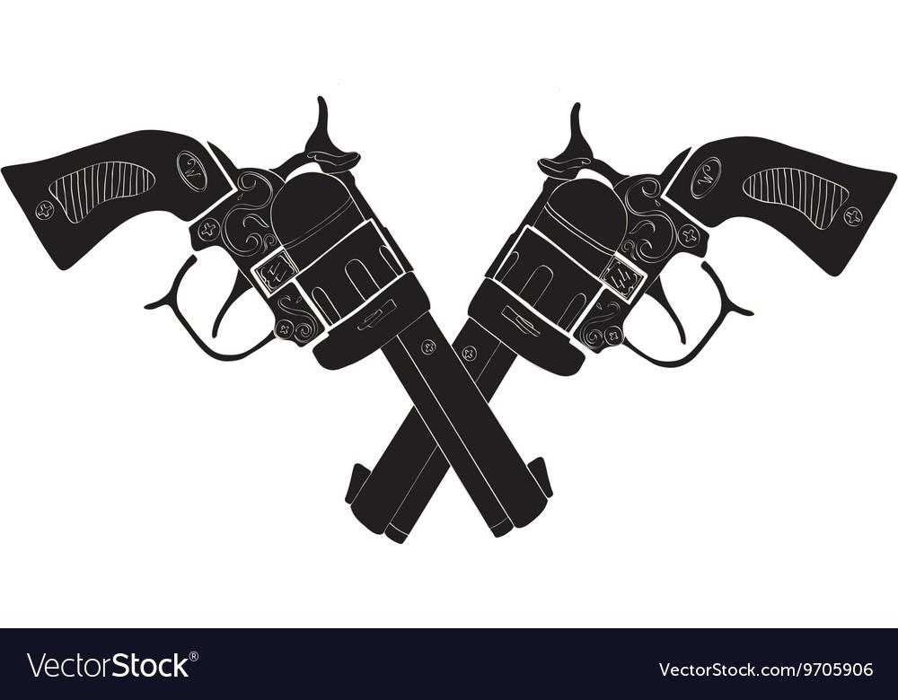 Black and White Crossed Gun - art vector image