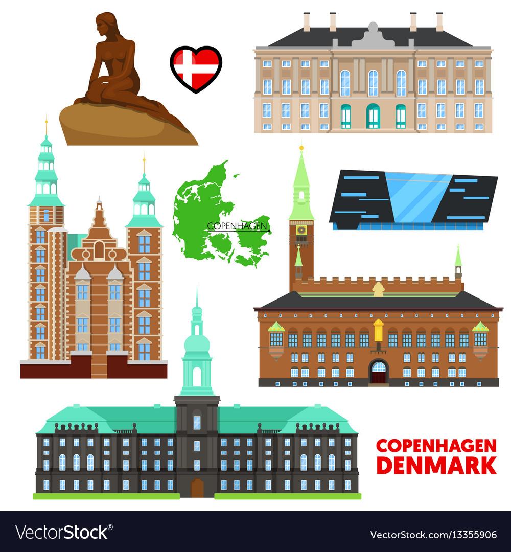 Denmark copenhagen travel set with architecture vector image