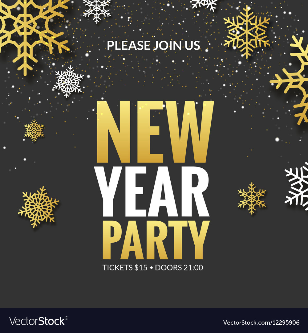 New Year party invitation poster design Retro gold