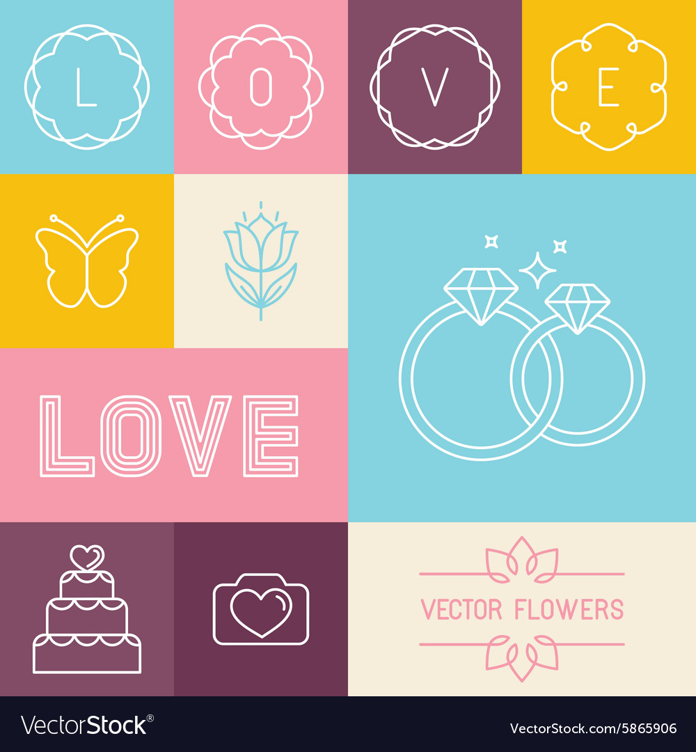 Set of linear icons for wedding invitations vector image