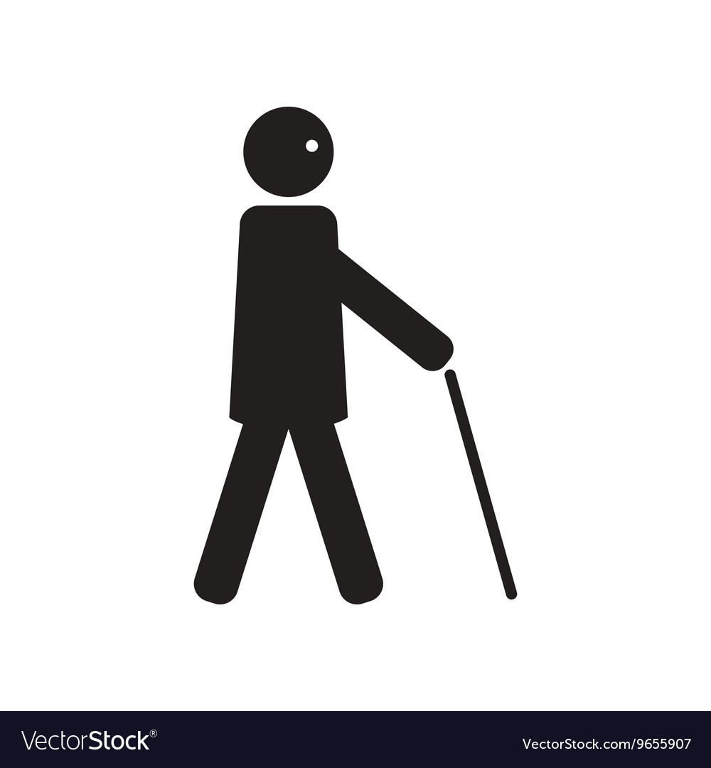 Flat icon in black and white style man with stick