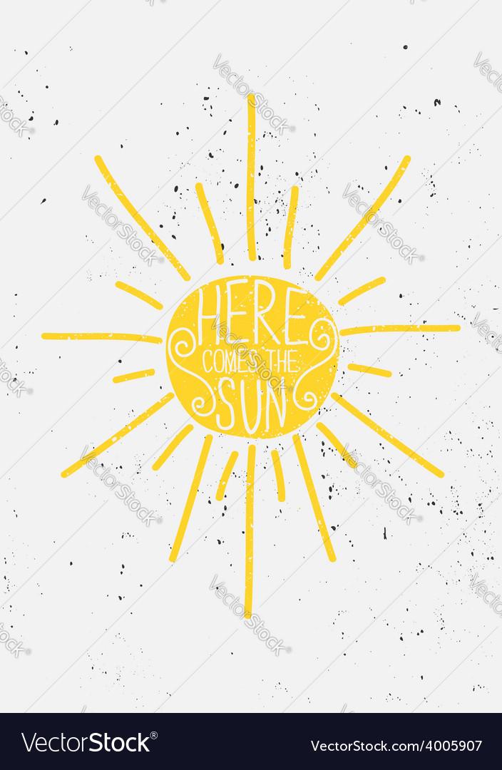Hand drawn sun typographic design vector image