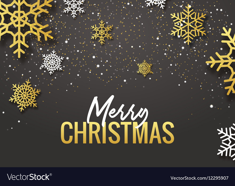 Merry Christmas poster design Retro gold vector image