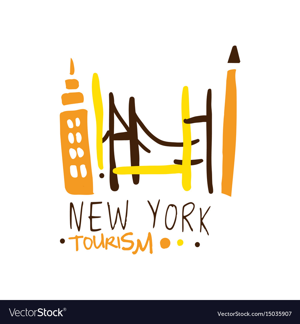 New york tourism logo template hand drawn vector image