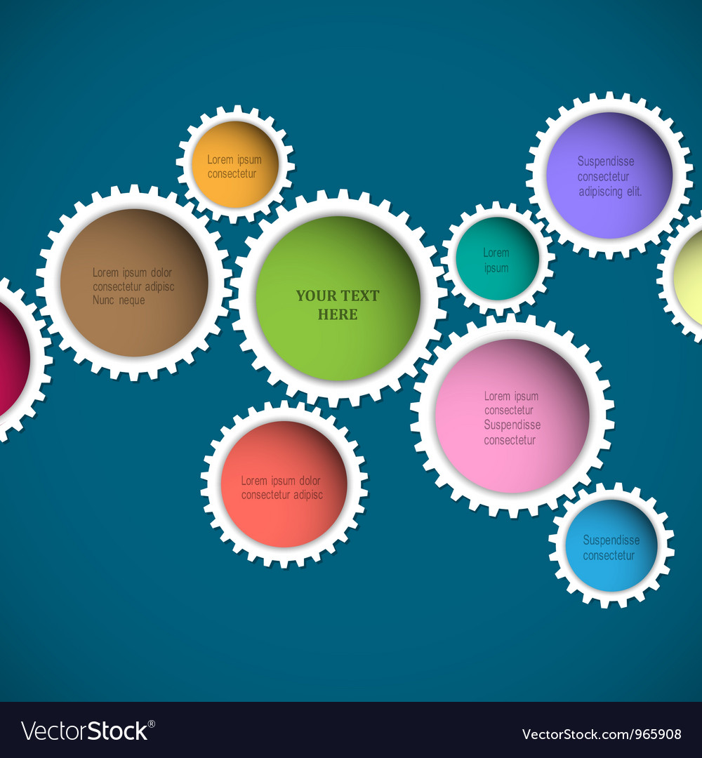 Colorful abstract gear wheels vector image