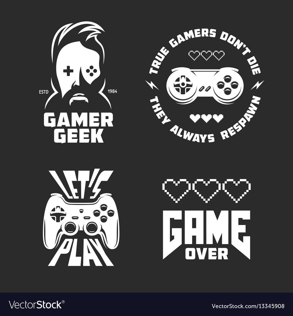 Retro video games related t-shirt design set vector image