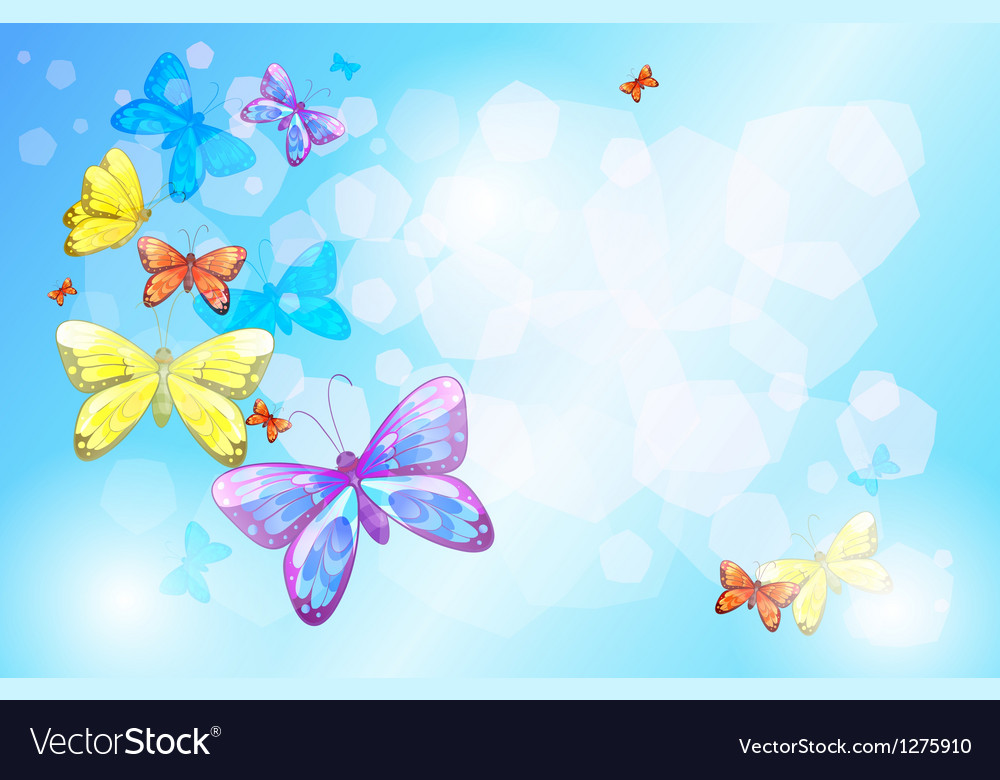 A special paper with colorful butterflies Vector Image