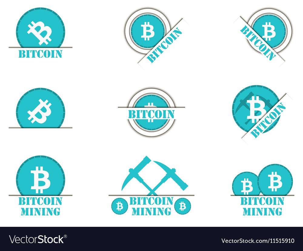 Bitcoin mining Set symbol vector image