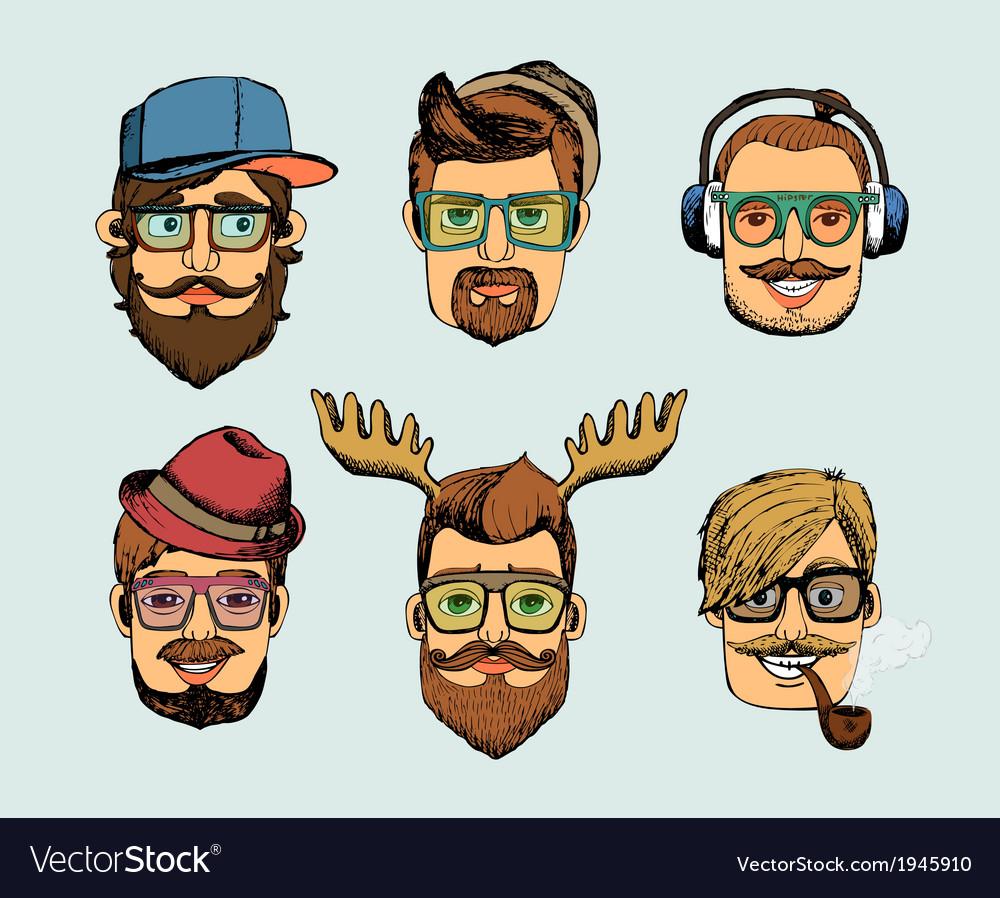Hipster man heads avatars vector image