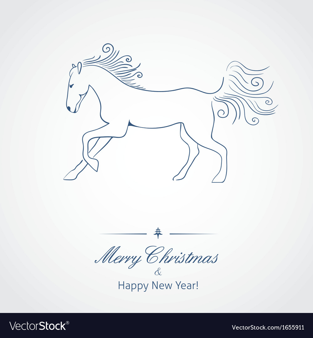 A Horse - symbol of new 2014 year vector image
