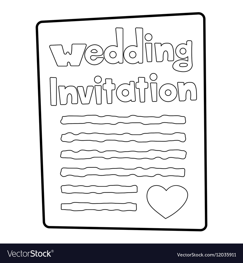 Invitation icon outline style vector image