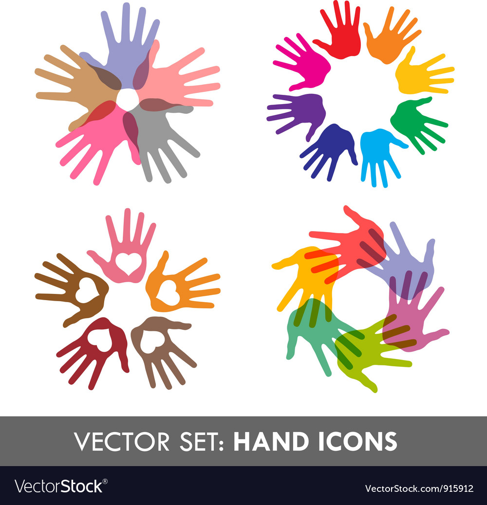 Collection of hand icons Vector Image