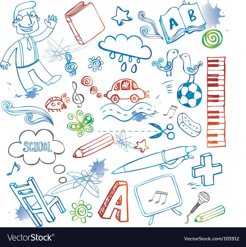 Set of doodles vector image