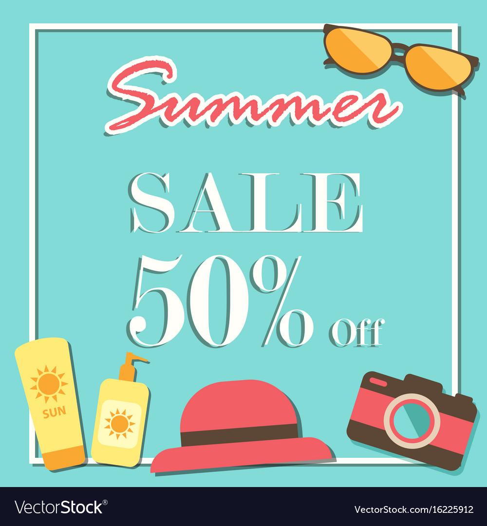 Summer sale template banner illurstrator design vector image