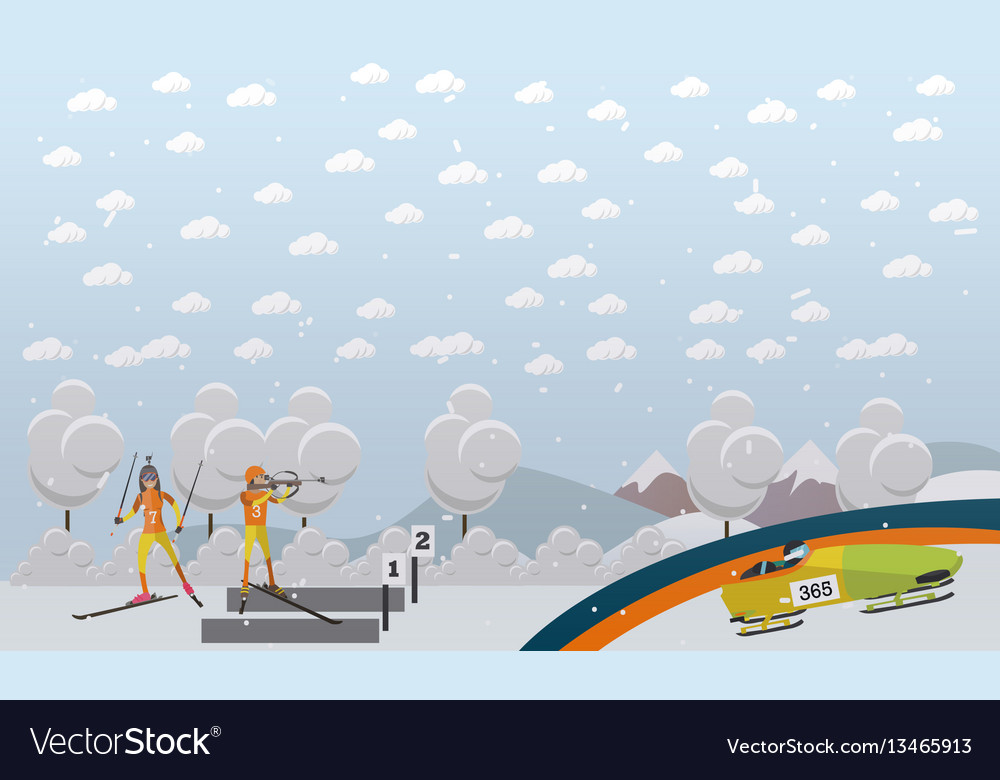Bobsleigh biathlon concept in vector image