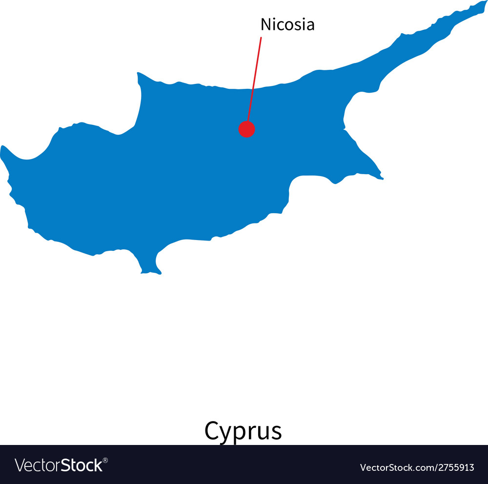 Detailed map of Cyprus and capital city Nicosia Vector Image