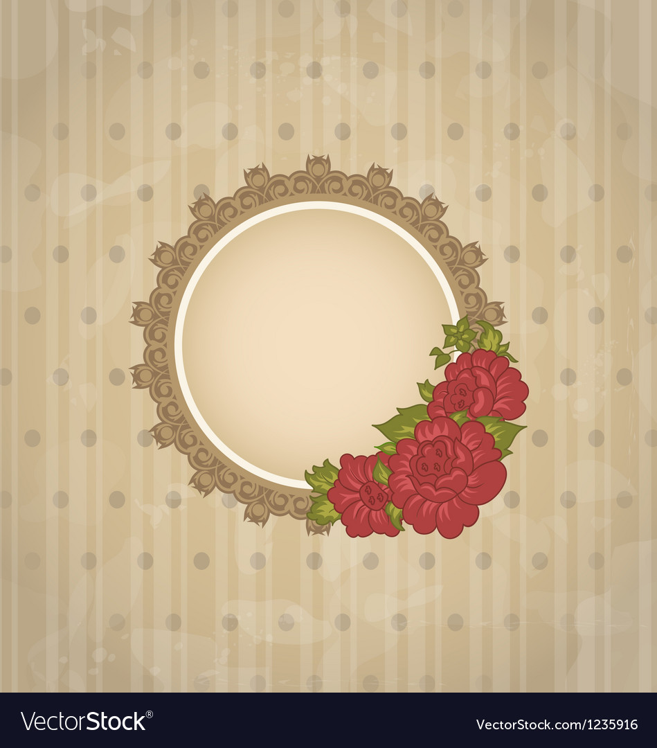 Vintage background with floral medallion and vector image