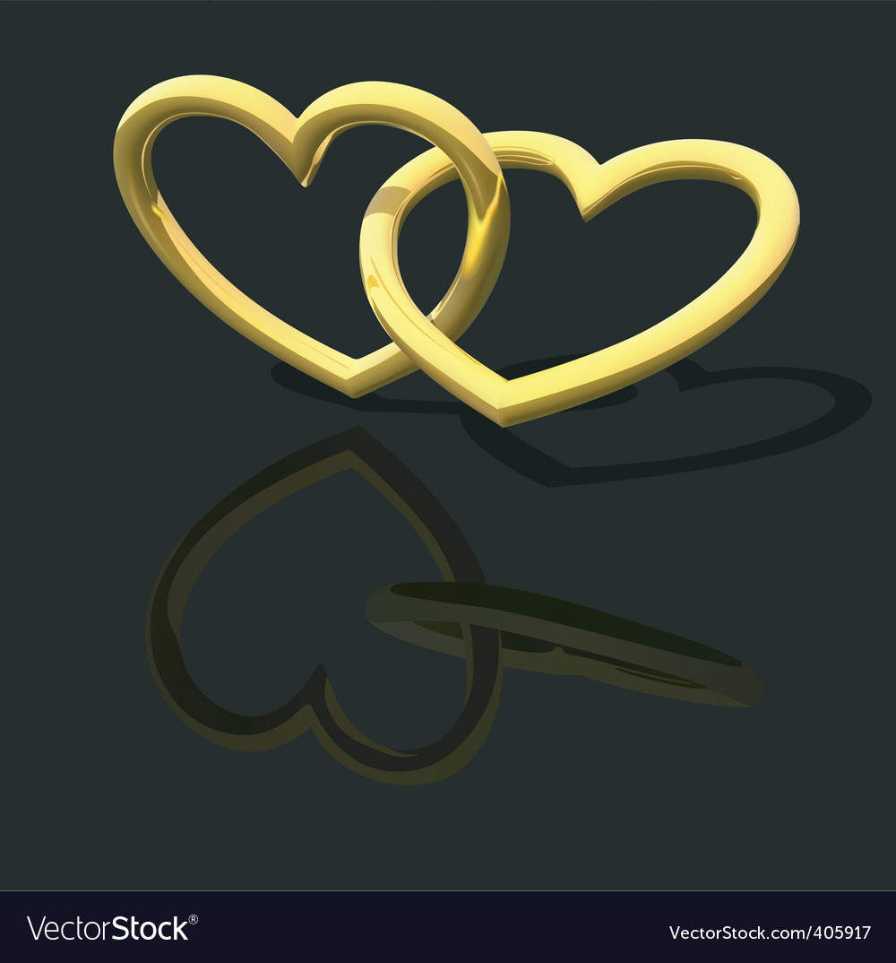 Gold entwined hearts vector image