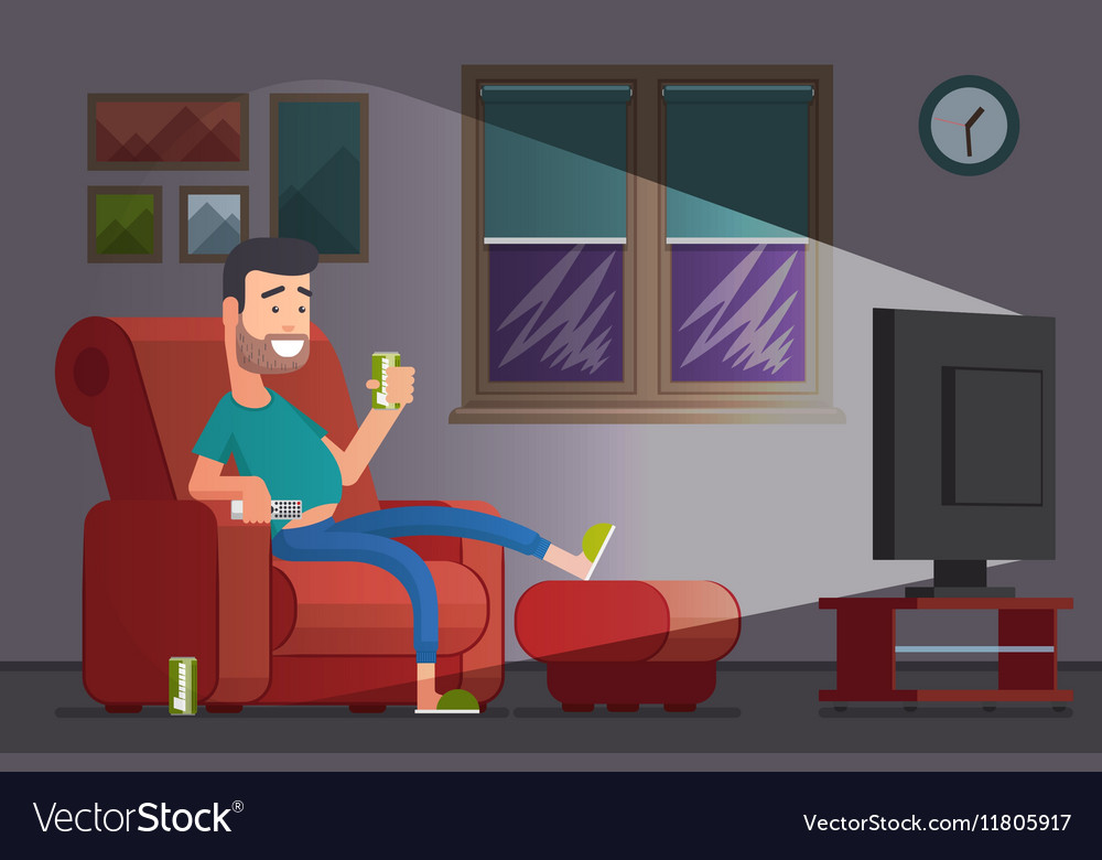 Man watching TV and drinking beer cartoon vector image