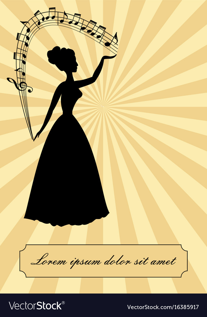 Music theme vintage design victorian lady vector image