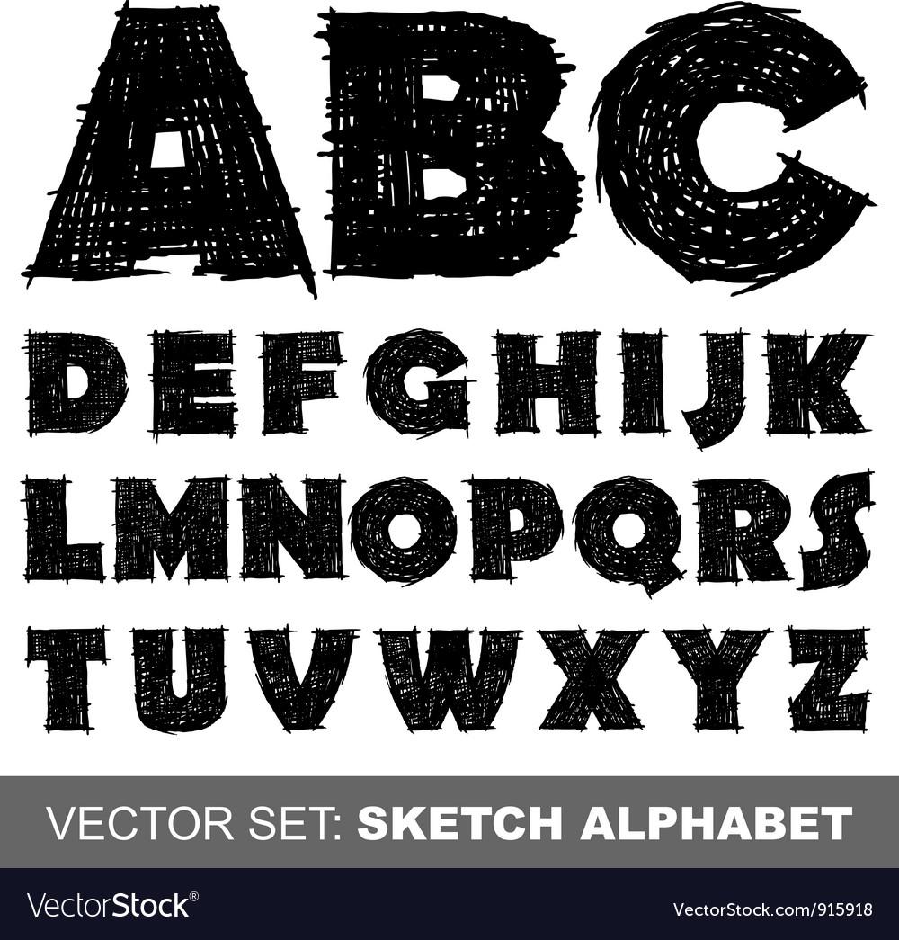 Sketch alfabet vector image