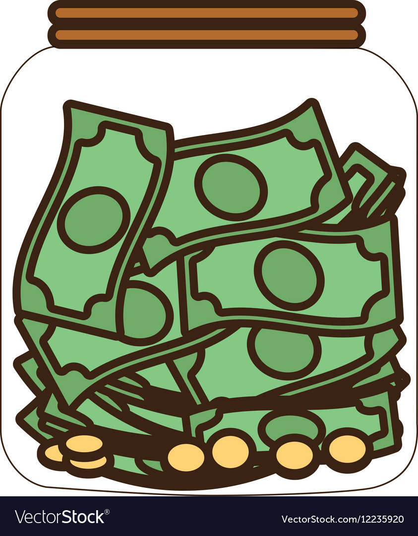 Cartoon money saving money glass vector image