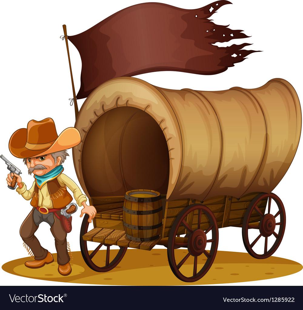 A gunman with a wagon vector image