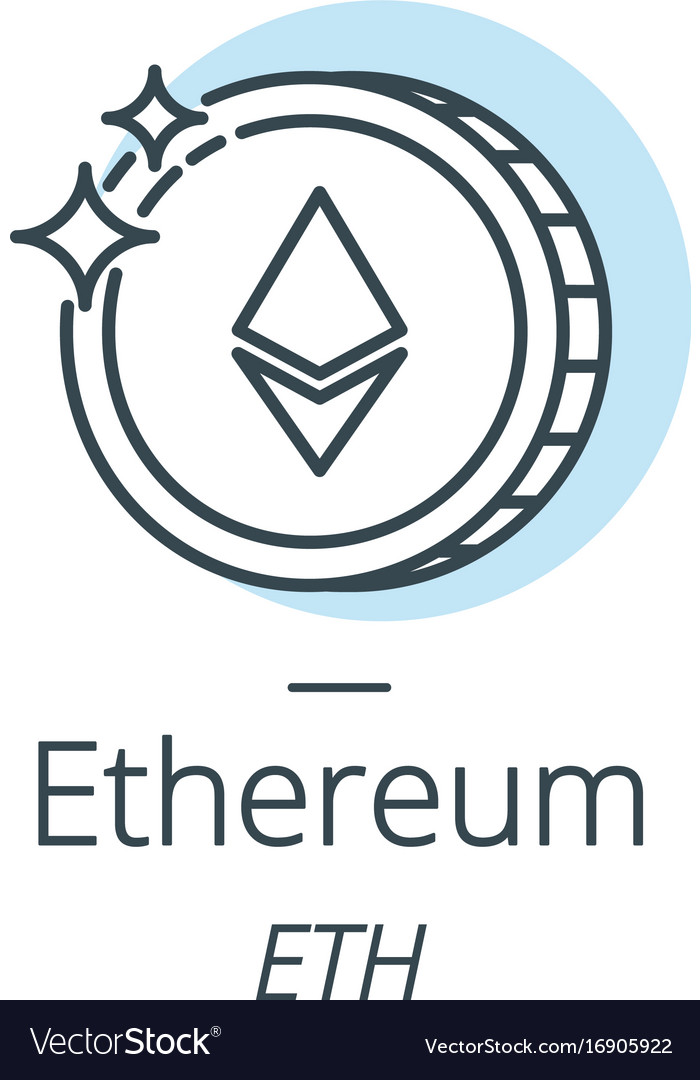 Ethereum cryptocurrency coin line icon of virtual vector image