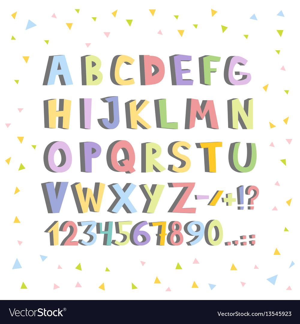 Funny comics font hand drawn lowcase colorful vector image