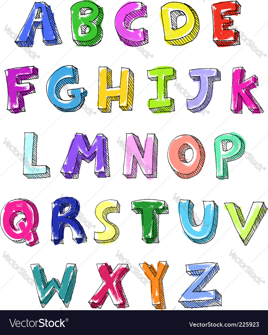Letters hand written vector image