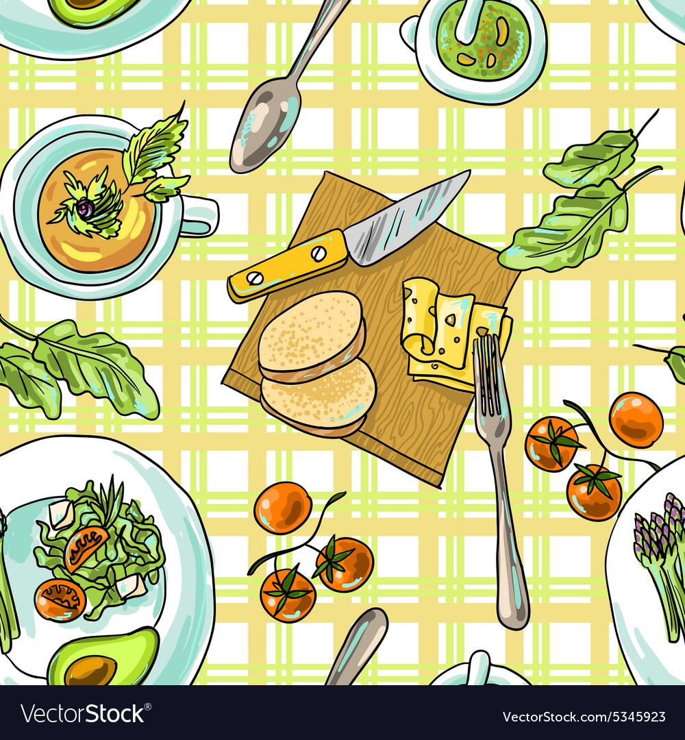 Seamless pattern vegetarian vector image