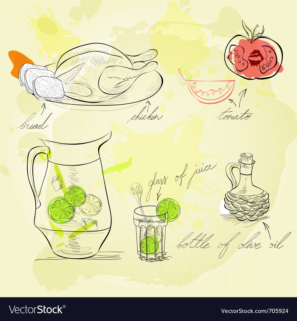 A lot of food and drink vector image