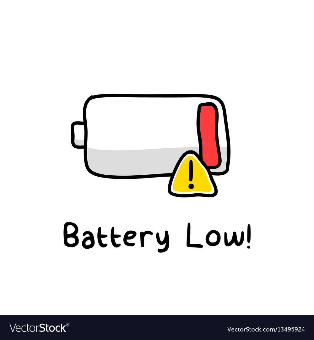 Battery low sketch vector image