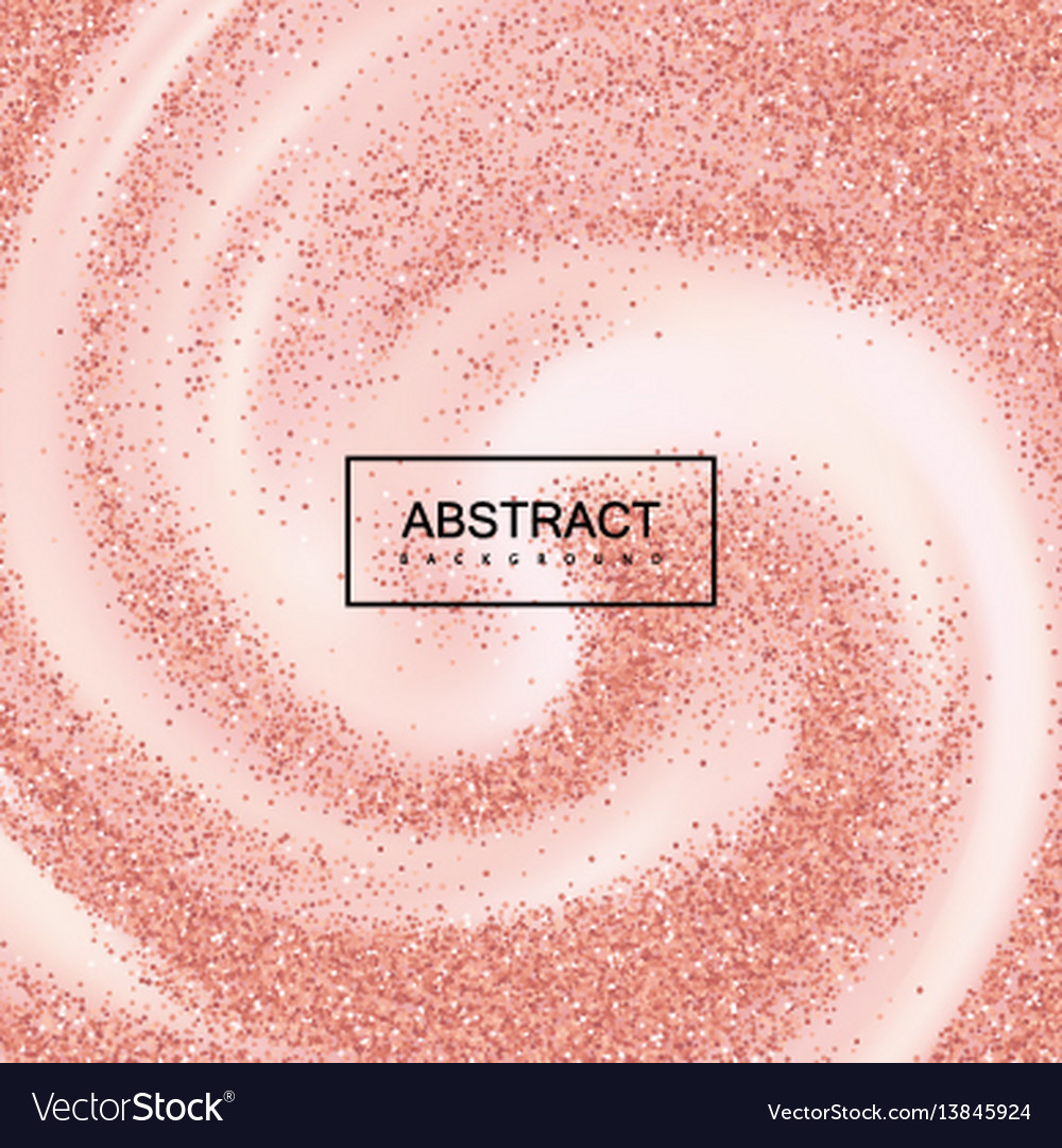 Rose gold confetti glitters on creamy swirling vector image