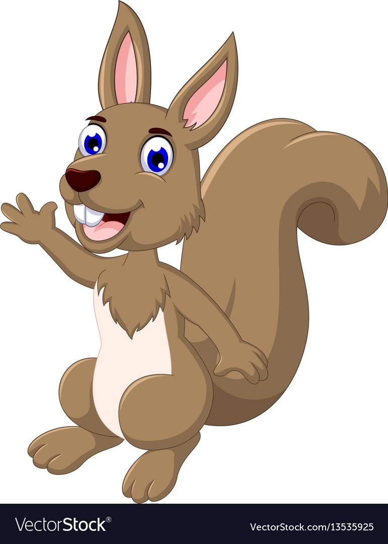 Funny cartoon squirrel posing vector image