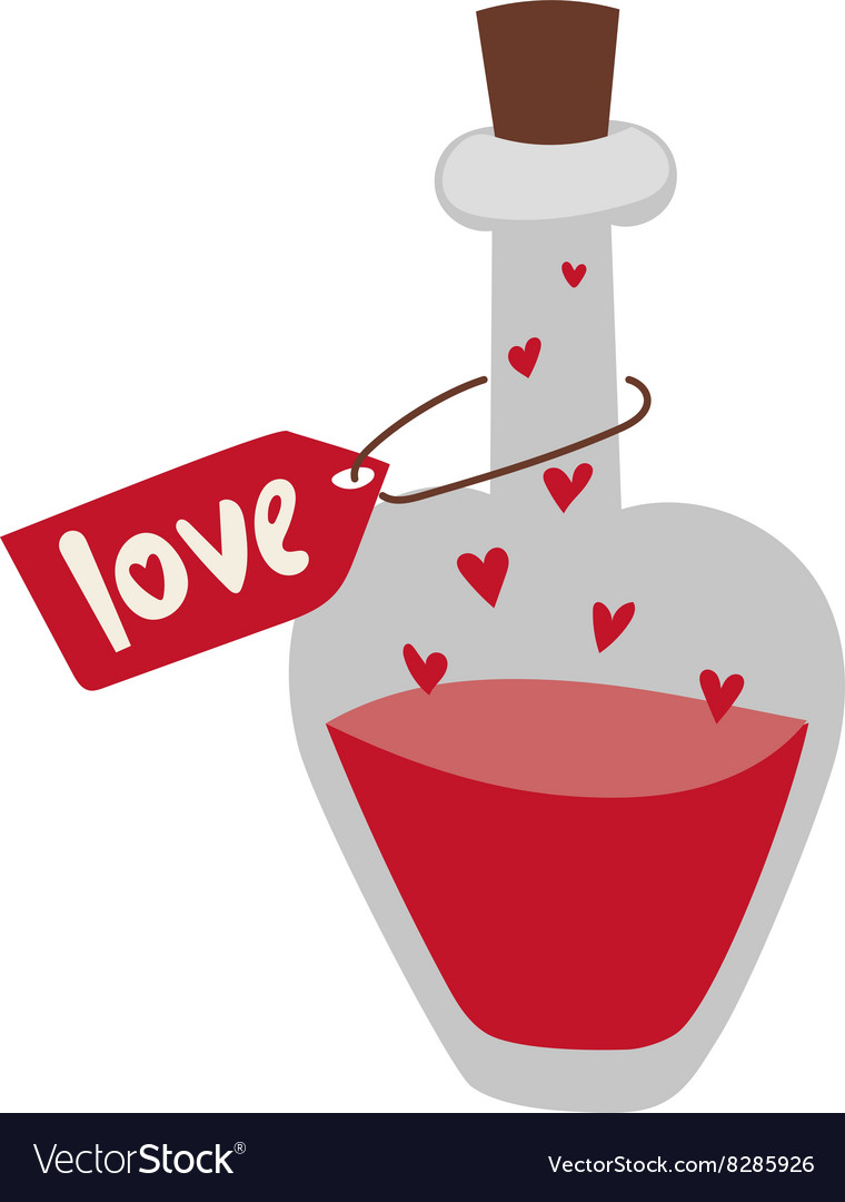 Romantic love potion in heart shaped glass flask vector image