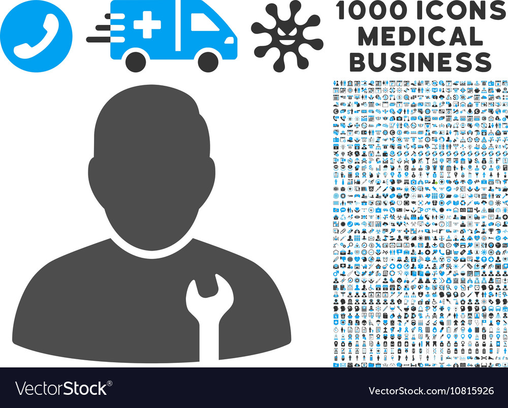 Serviceman Icon with 1000 Medical Business vector image