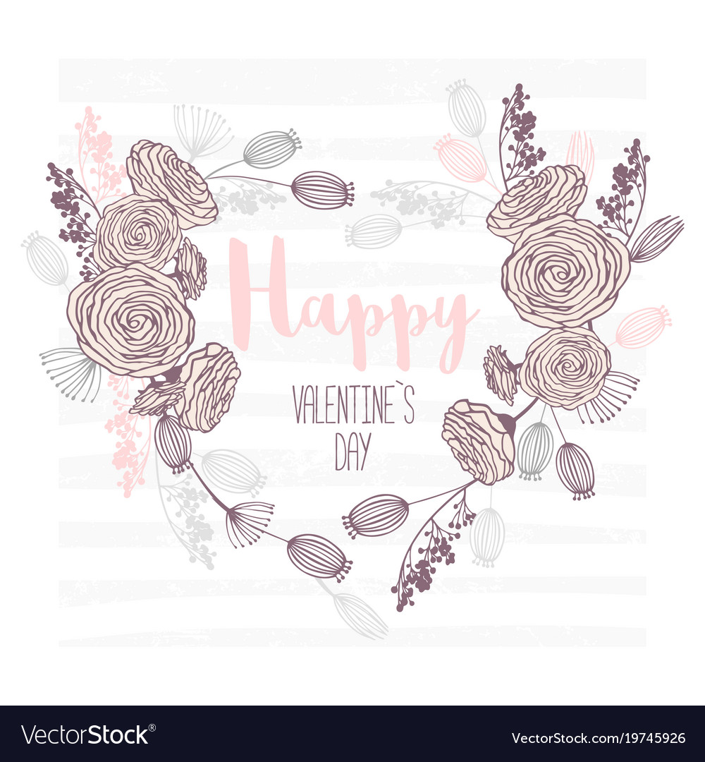 Valentines day hand drawn greeting card heart vector image kristyandbryce Gallery