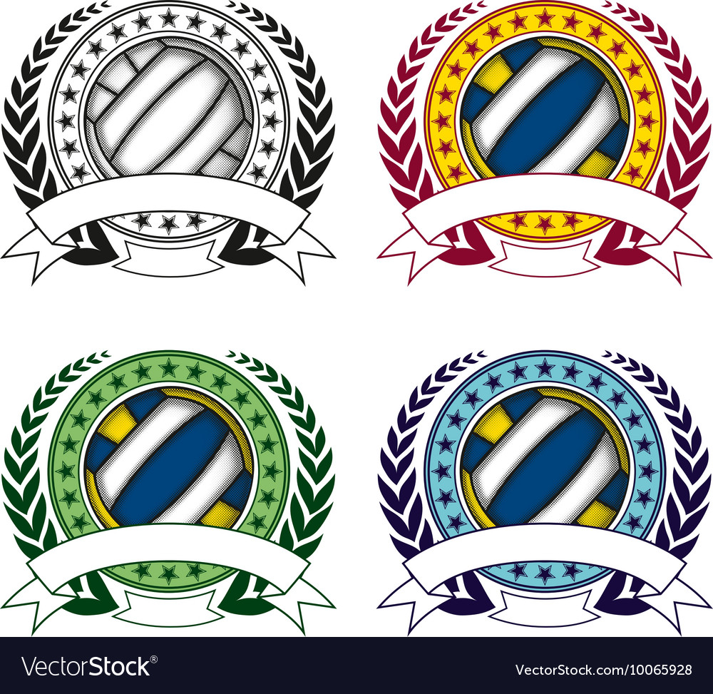 Volleyball emblem 4 vector image
