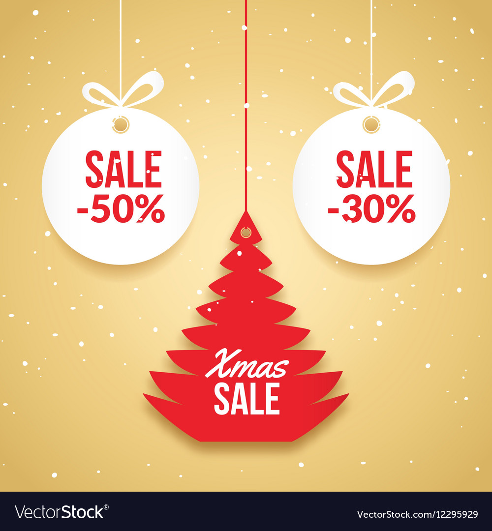Christmas balls sale Special offer tag New year vector image