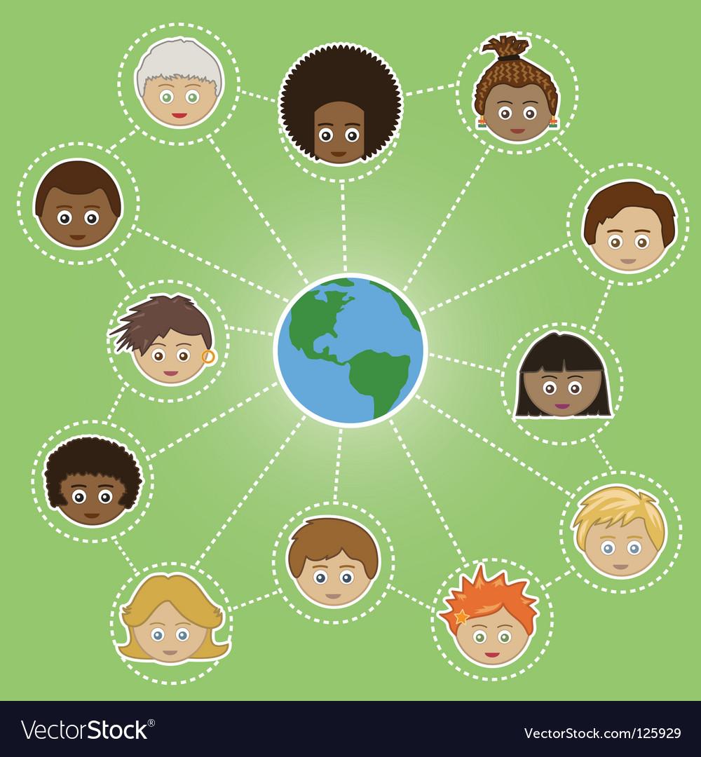 Networking kids around the world vector image