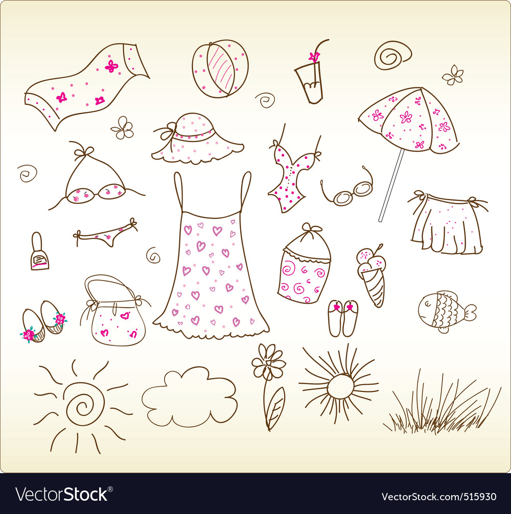 Beach accessories cute vector set vector image