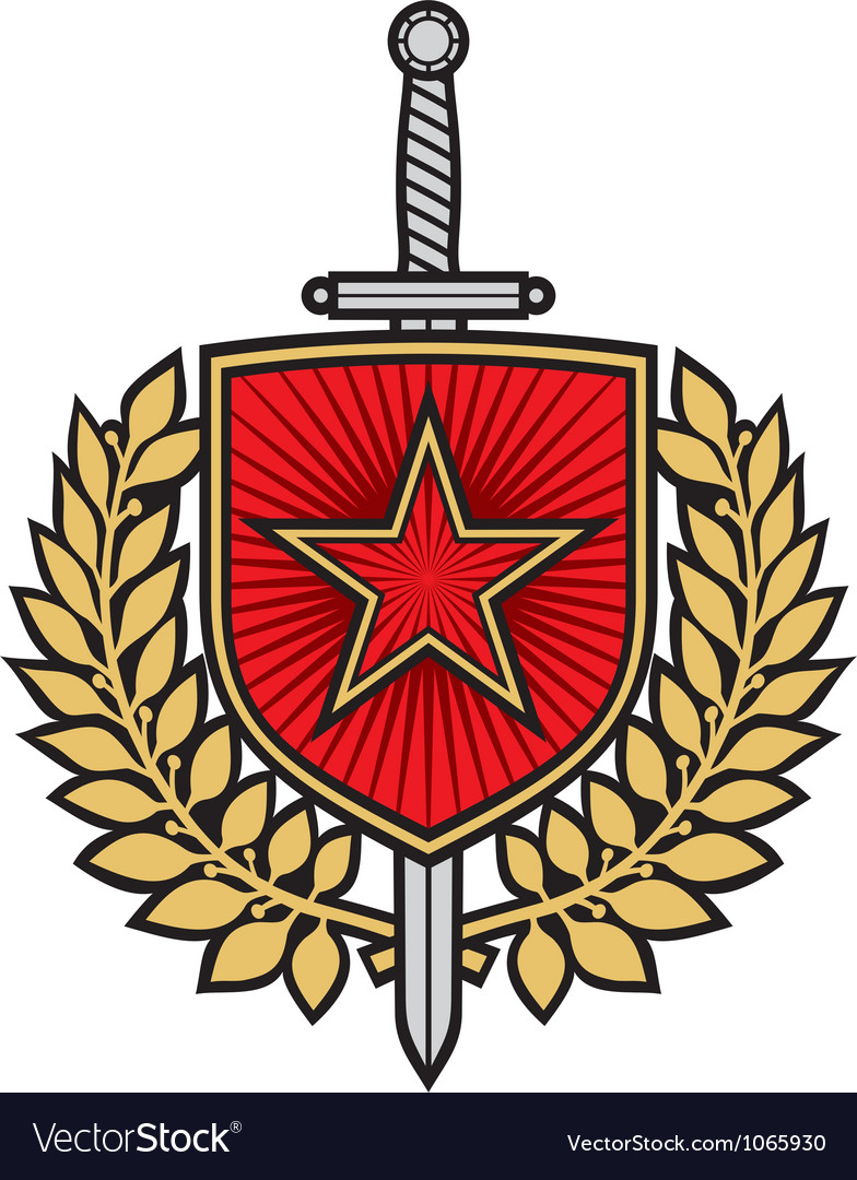 Star badge with sword and laurel wreath vector image