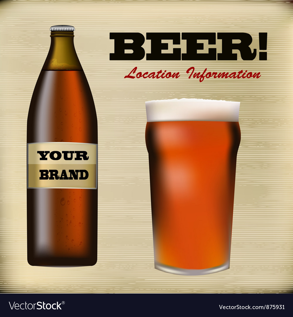 Beer bottle and foaming glass vector image