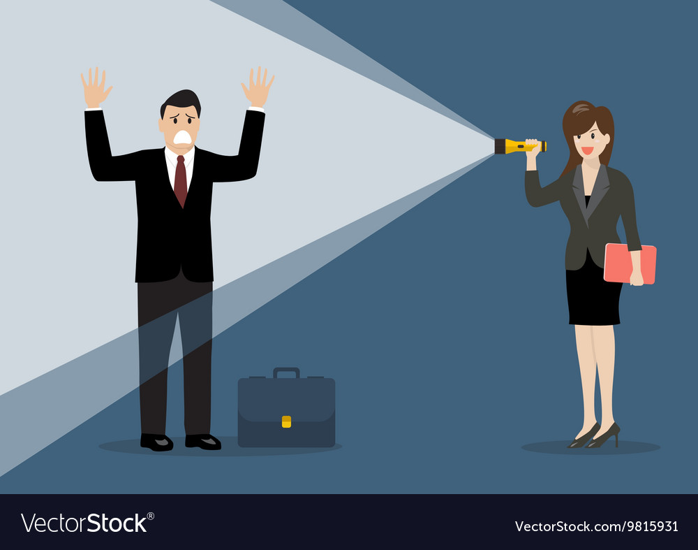Business woman holding flashlight glow to vector image