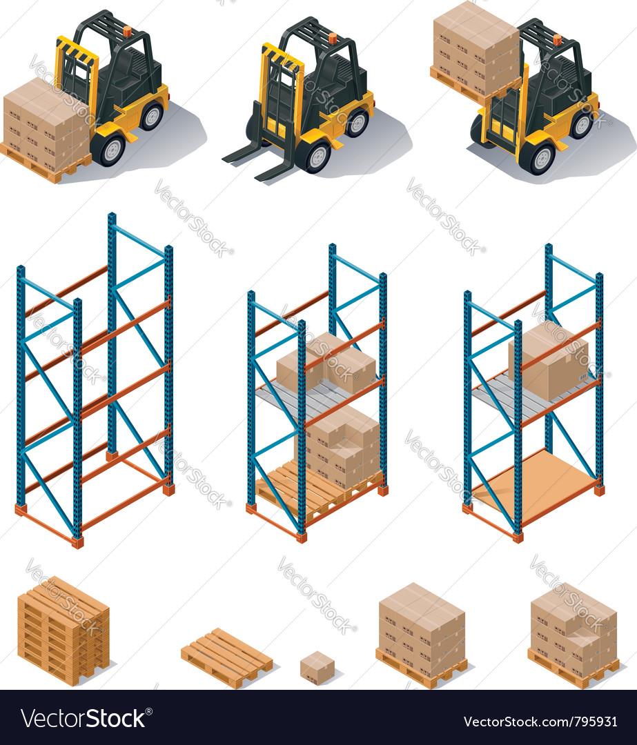 Warehouse equipment icon set vector image